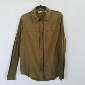 Michael Stars Olive Green High Low Shirt Top